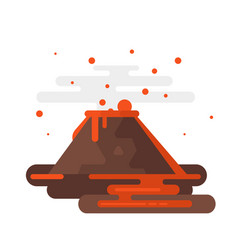Volcano eruption with smoke and lava vector