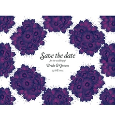 Wedding invitation with purple flowers vector