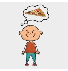 Boy pizza food speak vector