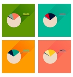 Concept of flat icons with long shadow money chart vector