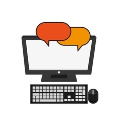 Computer and conversation bubble icon vector