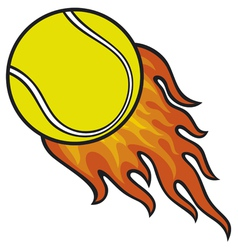 tennis ball in fire vector image