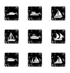 Ocean transport icons set grunge style vector