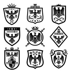 Medieval eagle heraldry coat of arms emblems vector image