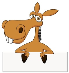 Cute donkey cartoon with blank sign vector