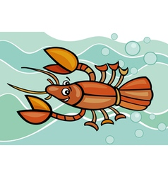 Happy crayfish cartoon vector