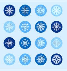 Set of white snowflakes on color backgrounds vector
