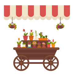 Wagon with flowers in store vector