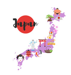 Map with japanese national cultural symbols vector