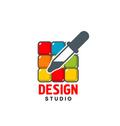 Design studio icon of dropper on color vector