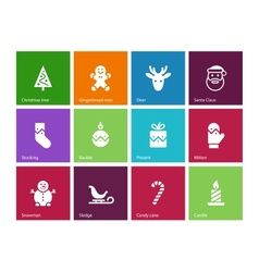 Christmas icons on color background vector