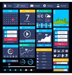 Flat user interface template vector