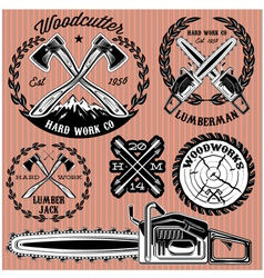 Set of labels on lumberjack working with wood vector