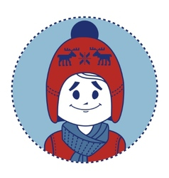 Smiling boy dressed in red knitted hat with deers vector