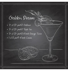 Alcoholic cocktail golden dream on black board vector