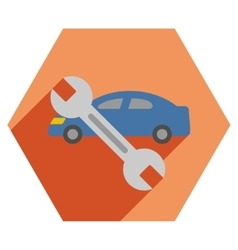 Car repair flat hexagon icon with long shadow vector