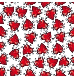 Pinned or nailed cartoon heart seamless pattern vector