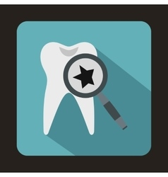 Tooth with magnifying glass icon flat style vector