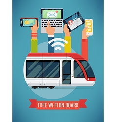Free wi-fi on a tram poster vector