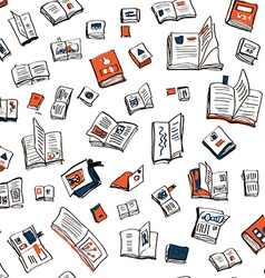 Books seamlesss pattern sketchy design vector image