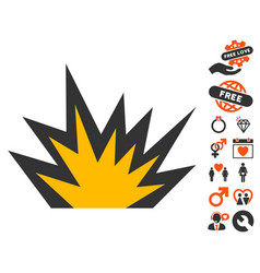 Boom explosion icon with love bonus vector