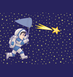 Boy astronaut catches a falling star vector