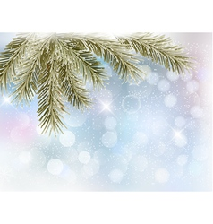 Christmas background with tree branches and vector image vector image