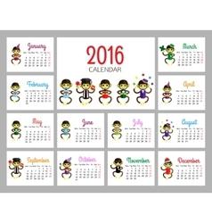 Desk calendar print template with funny vector