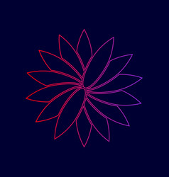 flower sign line icon with gradient from vector image vector image