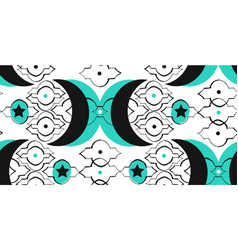 Hand drawn islamic graphic unusual seamless vector