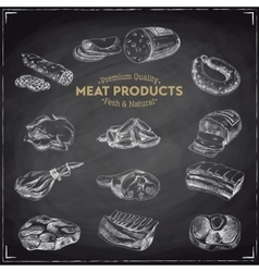 hand drawn with meat products vector image vector image