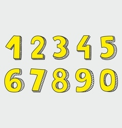 Hand drawn yellow numbers isolated on grey vector
