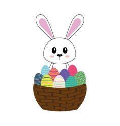Happy easter bunny cartoon isolated icon vector image