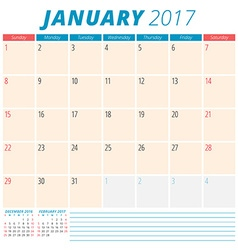 January 2017 Calendar Planner for 2017 Year Week vector image vector image
