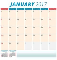 January 2017 Calendar Planner for 2017 Year Week vector image