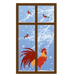 new year window with rooster vector image vector image