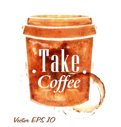 Painted plastic cup of coffee vector image