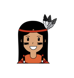 portrait aboriginal native american with feathers vector image