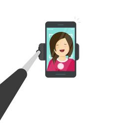 Selfie stick with smartphone vector