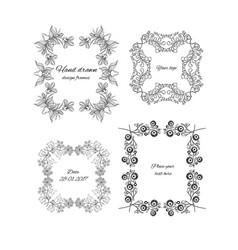 Sketch ornamental floral design frames set vector