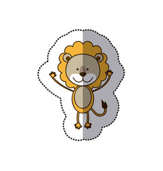 Sticker colorful picture cute lion animal vector