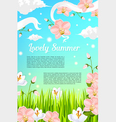 Summer flowers and floral blooms poster vector