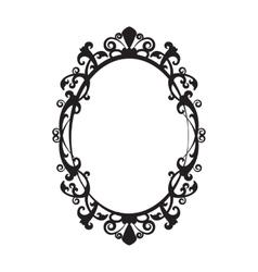 Vintage oval mirror frame - vector