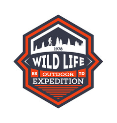 Wildlife expedition vintage isolated badge vector