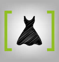 Woman dress sign black scribble icon in vector