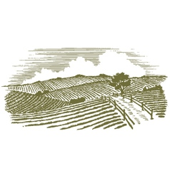 Woodcut countryside vector