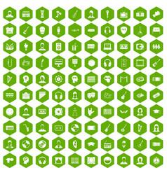 100 audience icons hexagon green vector