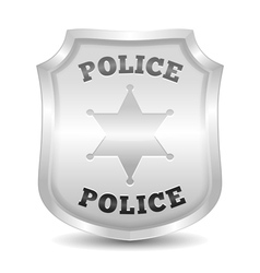 Silver police badge vector