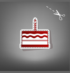 birthday cake sign  red icon with for vector image