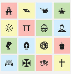 Set of 16 editable religion icons includes vector